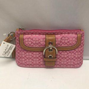 Coach Pink/Brown Buckle Bag Clutch Wristlet Purse